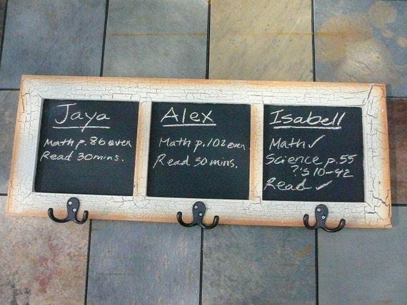 Chalkboard/Chore Chart/Coat Hanger/Key Holder