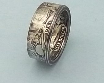 Silver coin ring walking liberty half dollar 90% fine silver jewelry year 1943 size 10 1/2