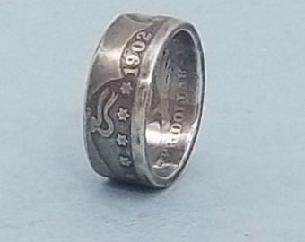 Silver coin ring Barber Quarter dollar, 90% fine silver jewelry year 1902 size 7
