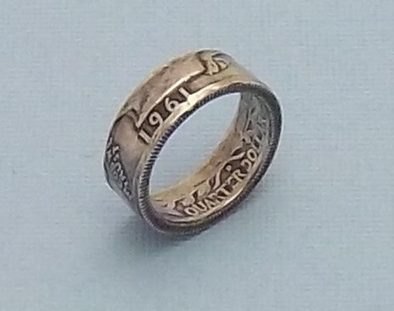 Listing for Phillip.   Silver coin ring washington quarter year 1961 size 7.   90% fine silver jewelry
