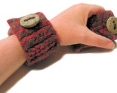 Comfy Felted Cuffs, stone button, black, red, gray, fingerless gloves, OOAK