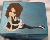 CLEARANCE SALE kawaii lolita girl hand painted onto wooden treasure keepsake box