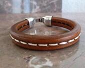 Stitched leather brown bracelet with zamak clasp - licorice leather bracelet