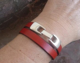 Double red leather bracelet with zamak clasp - 10mm flat  leather