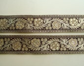 Indian Zari Lace Black Gold Woven Flowers 1 yard by Fabindianfabrics on Etsy