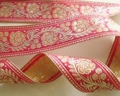 Indian Zari Lace  Gold Deep Pink Woven floral 1 yard by Fabindianfabrics on Etsy