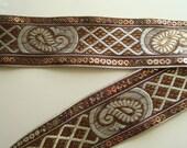 Indian Zari Lace Bronze Gold Sequins Paisley Woven  1 yard by Fabindianfabrics on Etsy