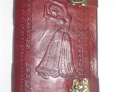 FREE SHIPPING Beautiful Dancing Lady Embossed Camel Pure genuine Leather Bound Blank Diary/Journal/Notebook/Sketchbook with Lock