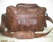 Leather Briefcase Messenger Bag / Satchel Laptop Bag - Vintage Retro Looking Briefcase Messenger Bag / Satchel Laptop Bag