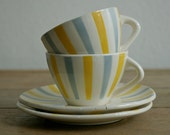 2 mid century porcelain striped cups with saucers