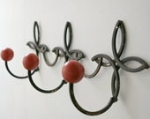 Large french wrought iron and red wood coat peg hanging rack