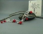 Sterling Silver, Swarovski crystals and Coral Beads Bracelet