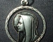 "Virgin Mary Our Lady of Lourdes Vintage Religious Medal Pendant  on 18"" sterling silver rolo chain"