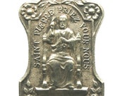 Saint Peter Vintage Religious Medal on 18 inch sterling silver rolo chain