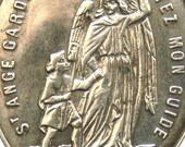 Holy Guardian Angel and Saint Joseph Antique Sterling French Religious Medal on 18 inch sterling silver rolo chain