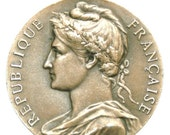 """French MARIANNE LADY of the REPUBLIC Vintage Art Medal to Honor & Work on 18"""" sterling silver rolo chain"""