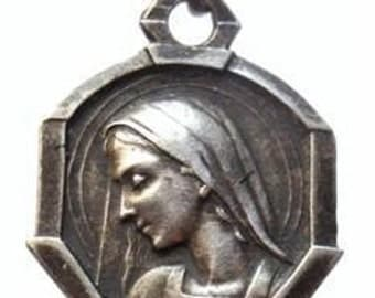 """Virgin Mary Vintage Sterling Religious Medal Jewelry Pendant on 18"""" sterling silver rolo chain"""