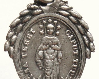 """Mother Mary Vintage French Sterling Religious Medal on 18"""" sterling silver rolo chain"""