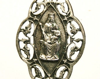 """Art Nouveau Antique Religious Medal to Our Lady or Miracles on 18"""" sterling silver rolo chain"""