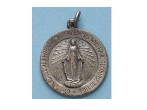 """Mother Mary Vintage Sterling Silver Religious Medal Pendant on 18"""" sterling silver rolo chain"""