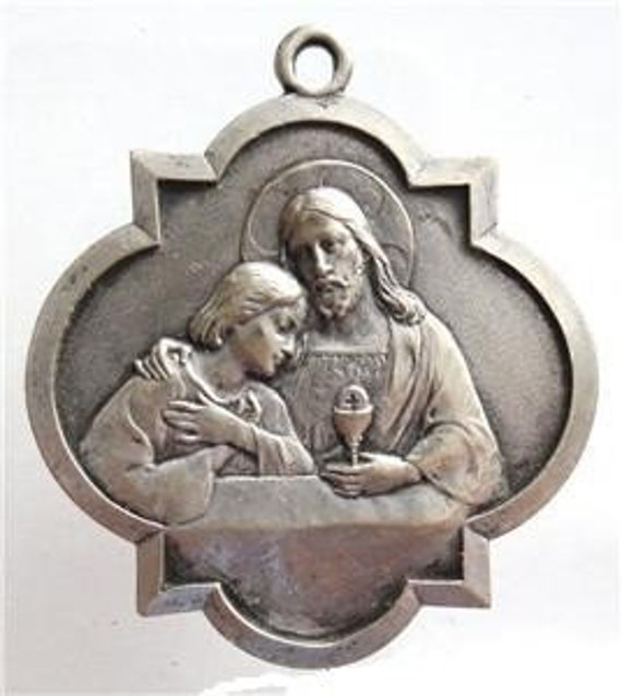 """Jesus and Saint John Vintage Medal on 18"""" sterling silver rolo chain"""