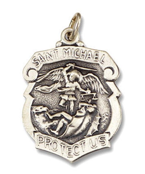 Saint Michael Sterling Silver Badge on 18 inch sterling silver rolo chain
