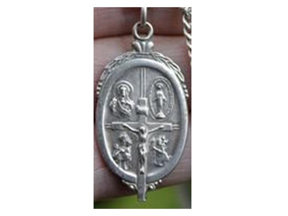 """Vintage Sterling Silver Miraculous Cross Religious Medal on 18"""" sterling silver rolo chain"""