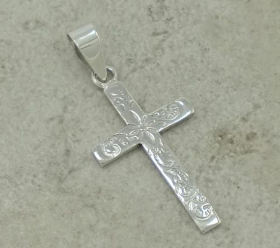 Floral Etched Sterling Silver High Polished Cross on Black Satin Cord