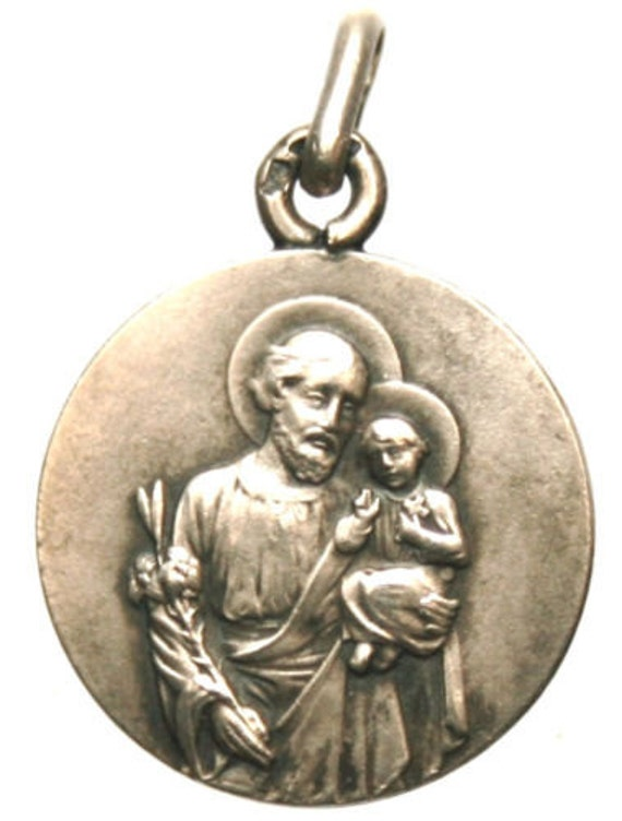 Saint Joseph with Infant Jesus Antique Silver Religious Medal on 18 inch sterling silver rolo chain
