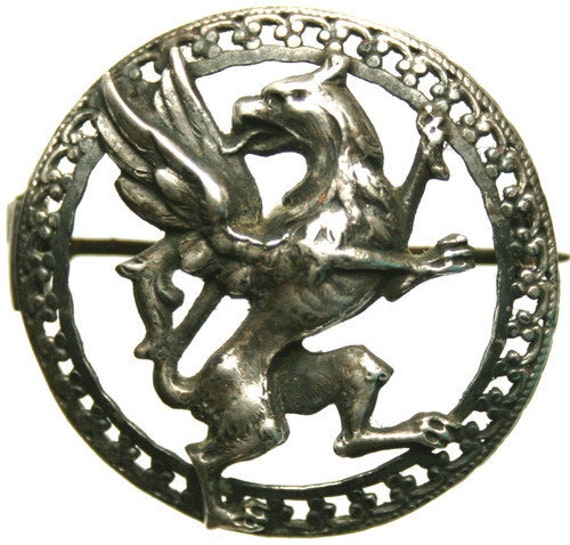 Antique Silver Brooch Medal to the MIGHTY MYSTICAL GRIFFON