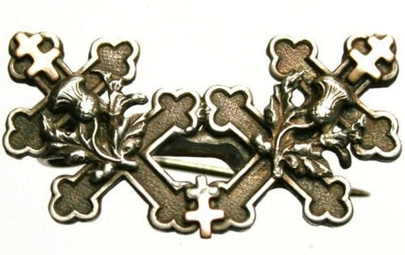 CUSTOM for SANDRA Crosses of Lorraine & Thistles Antique Silver Brooch Medal Silver - Goldplated