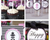 Damask Birthday Party Package  - (12) PDF Printable Files - Instant Digital Download