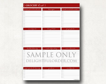 Red - Grocery Shopping List -  PDF Printable File - Instant Digital Download