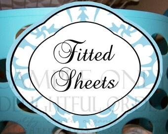 Linen Closet Labels -  (2) Printable PDF Files - Instant Digital Download