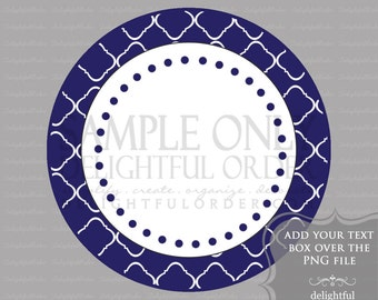 Blue Trellis Circle Labels/Tag - PDF Blank File & Add your text PNG File - Instant Digital Download