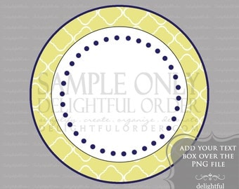 Yellow Trellis Circle Labels/Tag - PDF Blank File & Add your text PNG File - Instant Digital Download