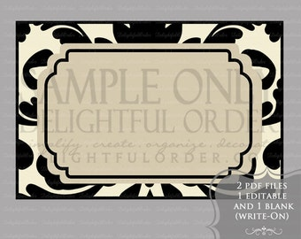 Editable and Printable - Tan Damask Label/Tags - (2) PDF Files - Instant Digital Download