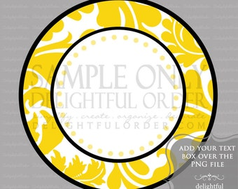 Yellow Damask Circle Labels/Tag - PDF Blank File & Add your text PNG File - Instant Digital Download