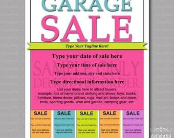 Editable and Printable Garage Sale Flyer - (1) PDF File - Instant Digital Download