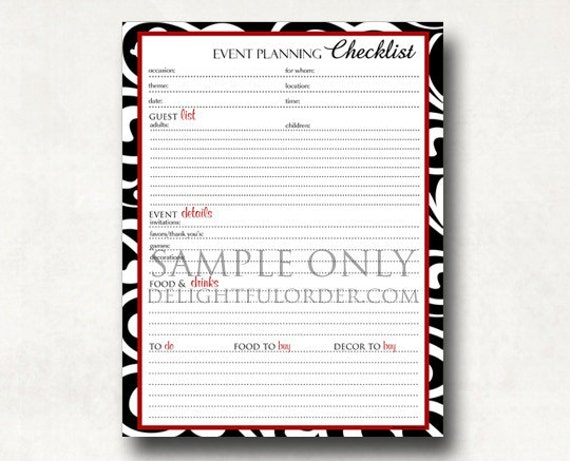 Event Planning Checklist   PDF Printable File   Instant Digital Download