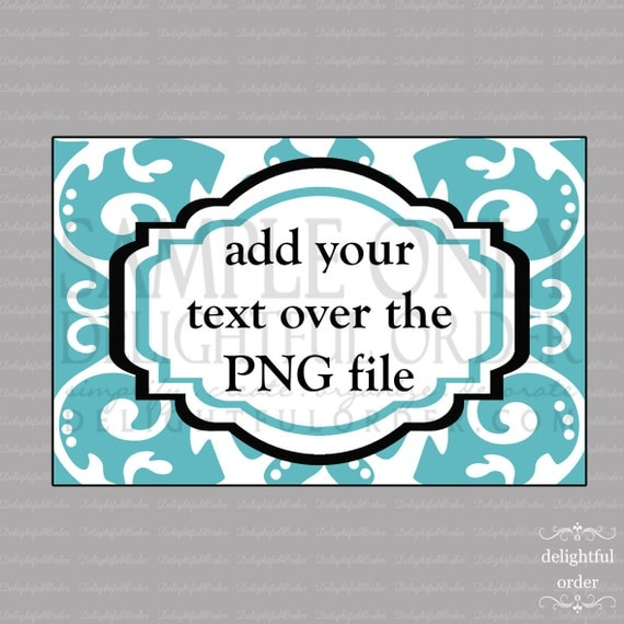 Blue Scroll Labels/Tag -  PDF Blank File & Add your text PNG File - Instant Digital Download