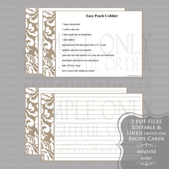 Editable and Printable - 4 x 6 Tan Damask Recipe Cards - (2) PDF Files - Instant Digital Download