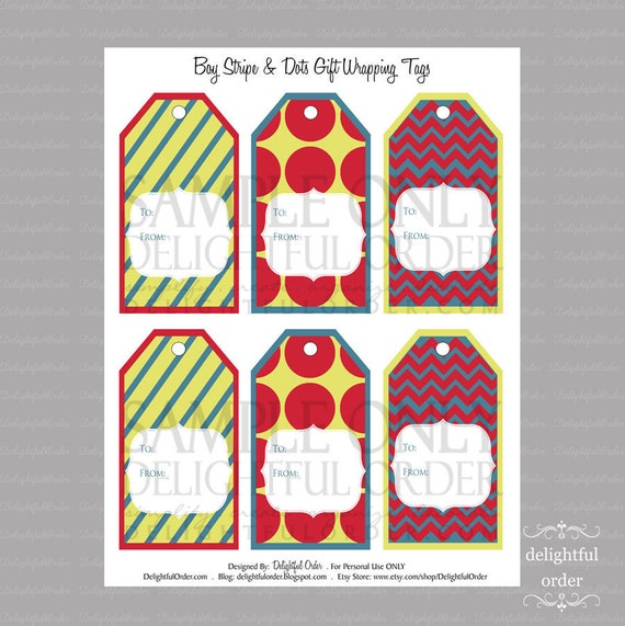 Boy Stripe & Dots Gift Tags - PDF Printable File - Instant Digital Download