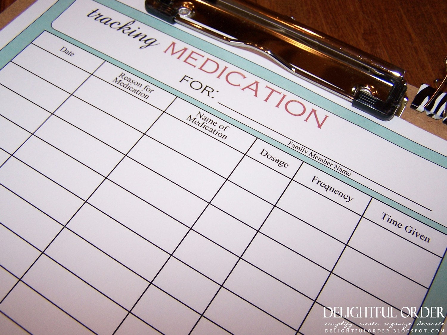 Tracking Medication Chart PDF Printable File Instant Digital | Etsy