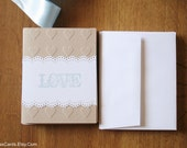 Stationery Note Card Set of 10 with Envelopes, kraft cardstock - Reduced price