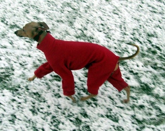 Plain Colour Fleece Italian Greyhound Jammies Pajamas Snowsuit Pink, Purple, Red, Orange, Yellow and more IMPORTANT - see item details