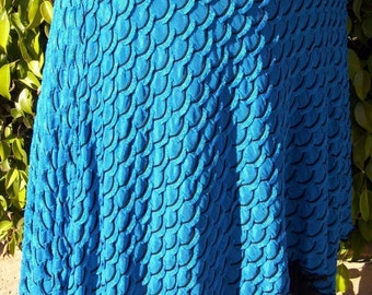 Skirt: Mermaid shape, fishscale texture, electric blue