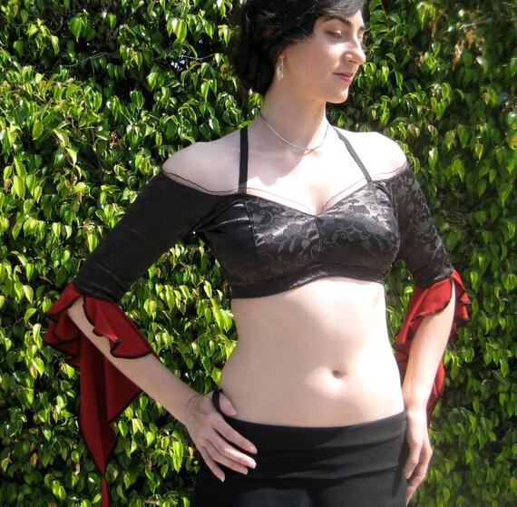 Bare - Shoulder  Gypsy Choli in Black & Red