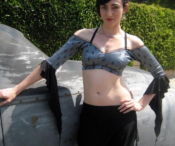 Bare - Shoulder Gypsy Choli in Silver Paisley