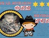 Lil Buckaroo Cowboy Birthday Invite (Digital File)